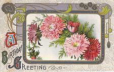 Buy Birthday Greeting Fancy Framed Flowers Art Vintage Postcard