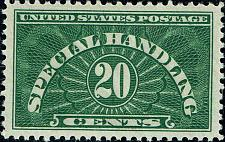Buy 1928 20c Special Handling, Yellow Green Scott QE3 Mint F/VF NH
