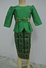 Buy Green Lao Laos Girl Tradition Dress Clothing 3/4 Seeve Blouse Sinh Skirt Size 6
