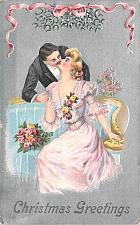 Buy Couple, Romance, Christmas Greetings Vintage Postcard