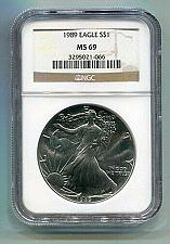 Buy 1989 AMERICAN SILVER EAGLE NGC MS69 BROWN LABEL PREMIUM QUALITY NICE COIN PQ