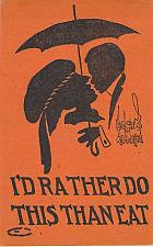 Buy I'd Rather Do This Than Eat Couple Kissing Artist Sign Vintage Romance Postcard