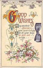 Buy Good Wishes Birthday Fancy Design Embossed Vintage Postcard