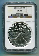 Buy 2012 AMERICAN SILVER EAGLE NGC MS70 BROWN LABEL PREMIUM QUALITY PQ