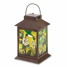Buy 38682U - Solar Power Hummingbird Floral Lantern Metal Glass Panels