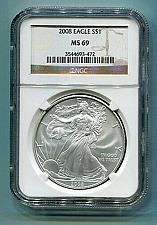Buy 2008 AMERICAN SILVER EAGLE NGC MS69 BROWN LABEL PREMIUM QUALITY NICE COIN PQ