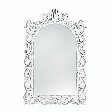 Buy *18066U - Distressed White Ornate Wood Frame Wall Mirror