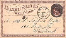 Buy 1874 UX3 New York, Negative 6 Fancy Cancel US Postal Card