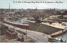 Buy Birds Eye View Brooklyn Navy Yard, U.S.S. Indiana Unused Vintage Postcard