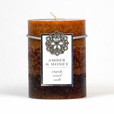 Buy :10664U - Amber & Honey Scented Brown Tri-color Paraffin Wax 3X4 Pillar Candle