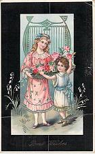 Buy Best Wishes Children with Flowers German Embossed Vintage Postcard