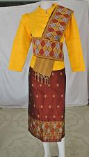 Buy Yellow Synthetic Silk 3/4 Sleeve Blouse Brown Sinh Skirt Outfit Scarf Size M