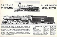Buy 50 Years of Progress in Burlington Locomotives Vintage Postcard