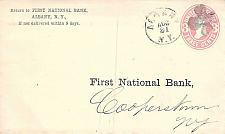 Buy U58, Albany NY Clover Fancy Cancel, First National Bank, Enclosure, 1870 Use