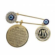 Buy Muslim islam AYATUL KURSI Allah Turkish evil eye Scarf Hijab Pin brooch