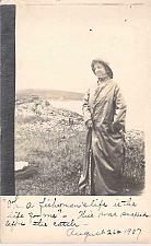 Buy Real Photo of Woman in Fishermans Outfit, Owls Head Maine Vintage Postcard