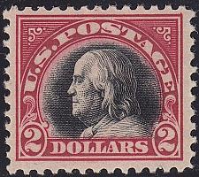 Buy 1920 $2 Benjamin Franklin, Carmine & Black Scott 547 Mint F/VF NH