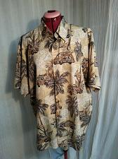 Buy Point Zero Hawaiian Style Shirt Woody Wagons Cars Palm Trees Brown L hh72
