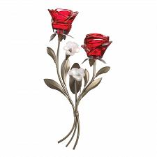 Buy *18784U - Romantic 2 Cup Red Glass Roses Wall Sconce Candleholder