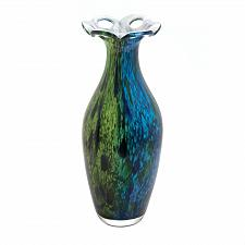 Buy *18219U - Peacock Bloom Art Glass Decorative Accent Vase