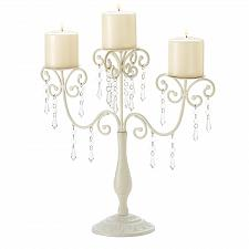 Buy 39784U - Ivory Elegance Jeweled Pillar Candelabra Candle Holder