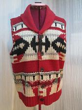 "Buy Southwest Aztec Mens Button Up Knit Sweater Vest Size 36"" chest Red Black v81k"