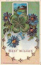 Buy Best Wishes Colorful Embossed Vintage Postcard