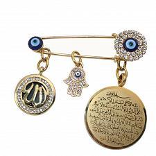 Buy muslim islam AYATUL KURSI Allah Turkish evil eye hamsa hand of fatima brooch