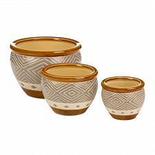 Buy *18507U - Earth-Tone Diamond Pattern Brown Trim Ceramic Planter Trio
