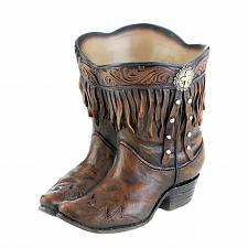 Buy *17969U - Fringed Brown Cowboy Boots Planter Pot Polyresin