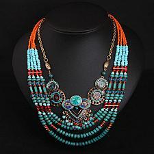 Buy BOHO VINTAGE ETHNIC GYPSY HIMALAYAN NEPALI COLLAR WOMEN BEADS RED BLUE NECKLACE