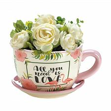 "Buy *18328U - Pink Flamingo 8 1/4"" Dolomite Teacup Planter"