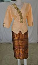 Buy Cream Lao Laos Synthetic Silk 3/4 Sleeve Blouse Blue Sinh Skirt Outfit Size L