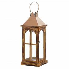 """Buy *18314U - Large 20"""" Rose Gold Wooden Pillar Candle Lantern"""