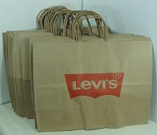 """Buy NEW 24 LEVI'S BROWN PAPER GIFT STORAGE SHOPPING BAGS 12"""" X 16"""" x 6"""""""