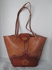 Buy p30x Tooled Leather Shoulder Tote Bag Purse Floral Blanket Stitch Western Style