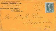Buy Circa 1870 Salem, Va Agricultural Implements Corner Card Cover to Virginia