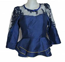 Buy Oxford Blue Lao Laos Long Sleeve Silk Blouse Lace Classic Round Neckline Size S