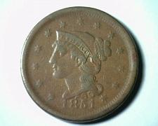 Buy 1851 LARGE CENT PENNY XF EXTRA FINE EF EXTREMELY FINE NICE ORIGINAL COIN