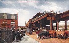Buy Elevated (EL) Station, Union Station Stock Yard, Chicago Vintage Unused Postcard