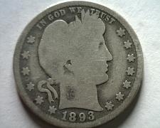 Buy 1893-O BARBER QUARTER DOLLAR GOOD G NICE ORIGINAL COIN FROM BOBS COINS FAST SHIP