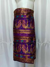"""Buy Purple Gold Lao Laos Synthetic Silk Sinh Skirt for sale Waist can fit to 40"""""""