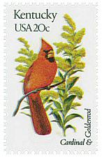 Buy 1982 20c State Birds & Flowers, Kentucky, Cardinal, Goldenrod Scott 1969 Mint NH