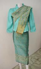 Buy Mint Lao Laos 3/4 Sleeve Silk Blouse size 6 Sinh Skirt Pha Bieng Beads Clothing