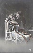 Buy Couple Holding Hands Girl Seated, Tinted Photo German Vintage Postcard