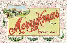 Buy Merry Xmas From Horace Kansas Embossed Vintage Postcard