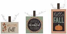 Buy :10967U - Thanksgiving Fall Welcome Signs Wall Plaques Set Of 3