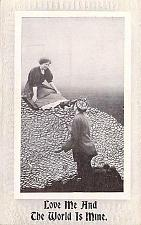 Buy Love Me and The World is Mine Embossed Fancy Border Vintage Romance Postcard