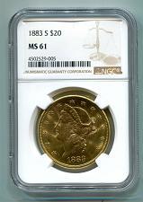 Buy 1883-S TWENTY DOLLAR LIBERTY GOLD NGC MS61 NICE ORIGINAL COIN PREMIUM QUALITY PQ