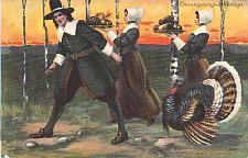 Buy Thanksgiving Greetings Pilgrims Towing a Turkey Vintage Postcard